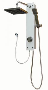 מוט פינוק זכוכית לבן למקלחת עם ראש טוש ומזלף מרובעים 2109 S
